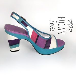 "PRICE DROP Hogan Shoes: 7.5, purple/teal, 4"" heel"